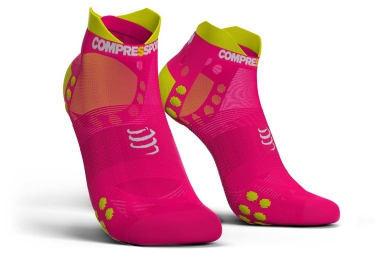 chaussettes compressport proracing v3 0 run ultralight basses rose fluo 42 44