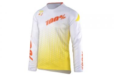 maillot manches longues 100 r core supra blanc jaune xl