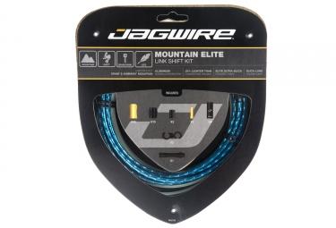 kit cable et gaine vtt jagwire mountain elite link pour derailleur bleu