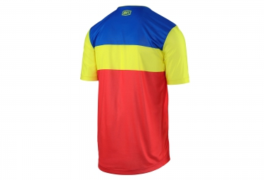 maillot manches courtes 100 airmatic fast times rouge bleu jaune xl