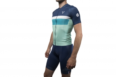 maillot manches courtes lebram tourmalet bleu coupe ajustee xxl