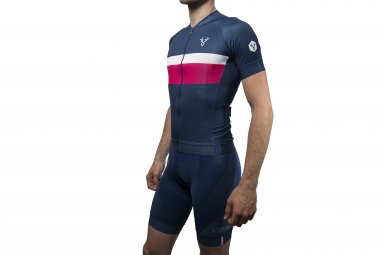 maillot manches courtes lebram tourmalet bleu rose xxl