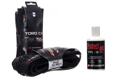 Lot de 2 pneus hutchinson toro cx 700x32c tubeless ready protect air max 120ml
