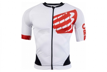maillot compressport cycling on off blanc rouge noir l