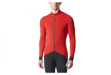 maillot manches longues adidas cycling climaheat rouge noir m
