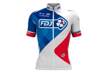 maillot manches courtes ale team fdj 2017 blanc bleu rouge l