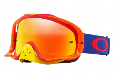 masque oakley crowbar mx bleu rouge fire iridium oo7025 48