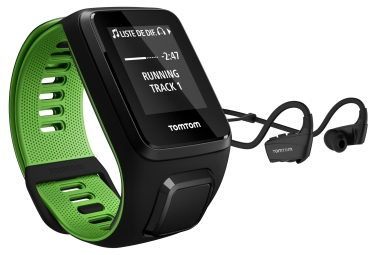 Montre gps tomtom runner 3 cardio music casque bluetooth bracelet large noir vert