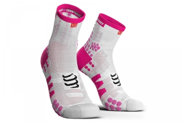 Compressport ProRacing V3.0 Run Smart Socks Taglio alto bianco / rosa