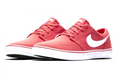 chaussures nike sb solarsoft portmore ii canvas rouge blanc 43