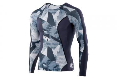 maillot manches longues skins dnamic gris bleu xl