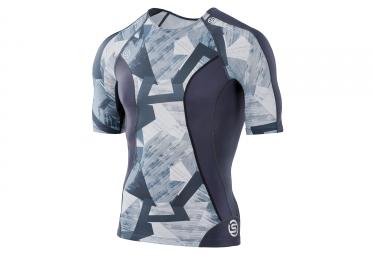 Maillot manches courtes skins dnamic gris bleu xl