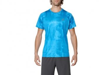T shirt asics fuzex printed tee 129928 2068 homme t shirt bleu l