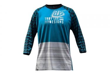 troy lee designs maillot manches 3 4 ruckus bleu gris s