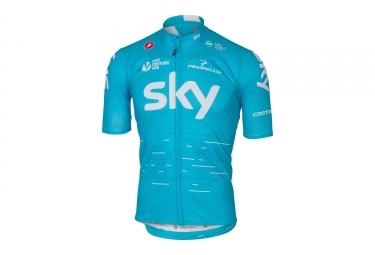 maillot manches courtes castelli team sky podio bleu xl
