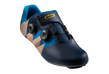 paire de chaussures route mavic 2017 cosmic pro ltd iv edition limitee izoard bleu marron 43 1 3
