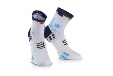 Chaussettes compressport ironman proracing v3 run haute blanc bleu 35 38