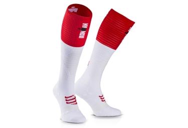 paire de chaussettes compressport ironman full socks ultralight racing blanc t4