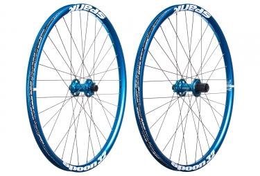 paire de roues spank spoon 32 27 5 axes 20x110 12x135mm shimano sram bleu