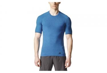 maillot manches courtes adidas running primeknit wool bleu m
