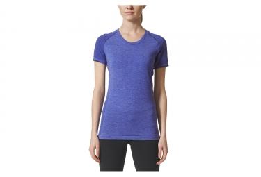 maillot manches courtes femme adidas running primeknit wool bleu m