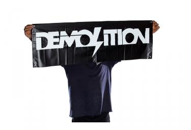 Banniere demolition noir avec logo blanc