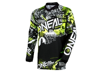 maillot manches longues enfant oneal element attack noir jaune fluo kid m