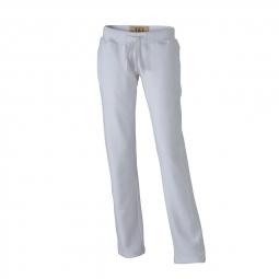 James et Nicholson Pantalon jogging - femme - JN944 - blanc - molletonné vintage coupe droite