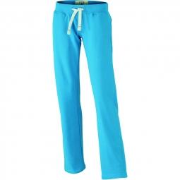 James et Nicholson Pantalon jogging - femme - JN944 - bleu turquoise - molletonné vintage coupe droite
