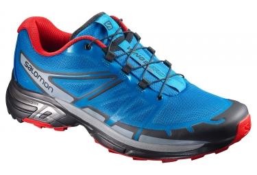 Chaussures trail salomon wings pro 2 bleu rouge gris 41 1 3