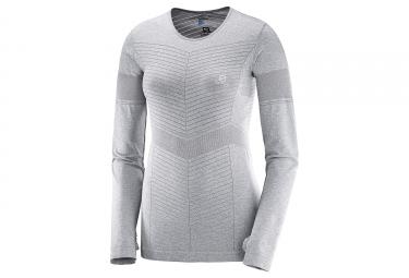 T shirt manches longues femme salomon elevate seamless gris s