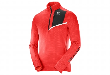 maillot manches longues salomon fast wing mid rouge noir s