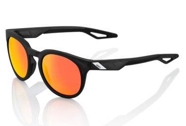 100% Campo Sunglasses Black Frame Iridium Red Lens