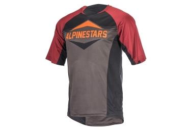 maillot manches courtes alpinestars mesa gris noir rouge l
