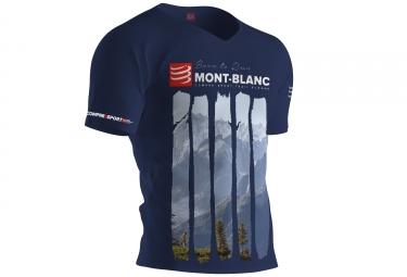 T-shirt Technique Compressport Mont Blanc 2017 Bleu