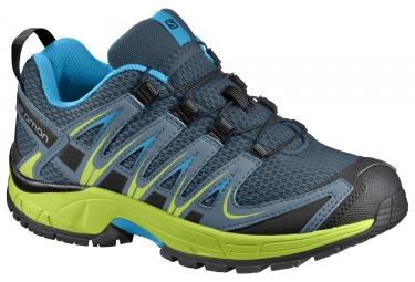 chaussures trail salomon xa pro 3d enfant bleu jaune noir 28