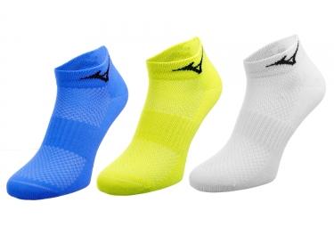 X3 paires de chaussettes mizuno training mid blanc bleu jaune 38 40