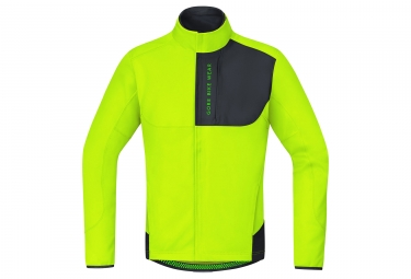 veste thermique gore bike wear power trail windstopper soft shell jaune noir xl