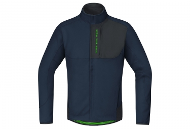 veste thermique gore bike wear power trail windstopper soft shell bleu noir m