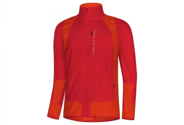 veste gore bike wear power trail windstopper rouge orange s