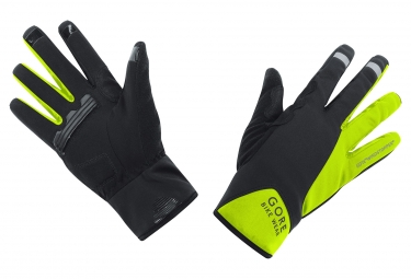 gants gore bike wear power windstopper noir jaune fluo xl
