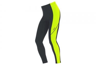 collant gore running wear essential thermo noir jaune fluo s