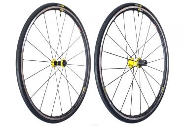 paire de roues mavic ksyrium elite ust tubeless noir jaune sram shimano yksion pro ust 25mm