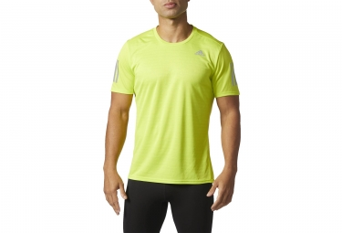 maillot manches courtes adidas running response jaune fluo m