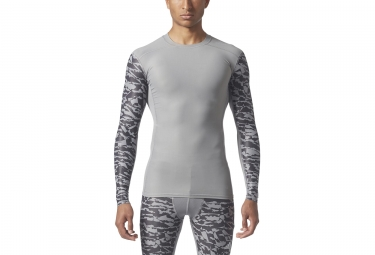 Maillot Manches Longues adidas running Techfit Chill Print Gris