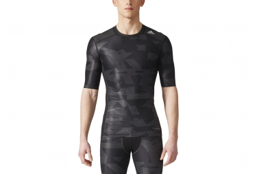 Maillot Manches Courtes adidas running Techfit Chill Print Noir Gris