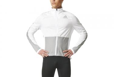 Veste coupe vent deperlant adidas running adizero blanc gris m