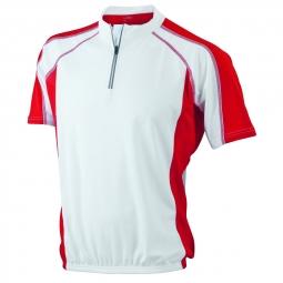 James et nicholson maillot cycliste homme jn420 blanc et rouge s
