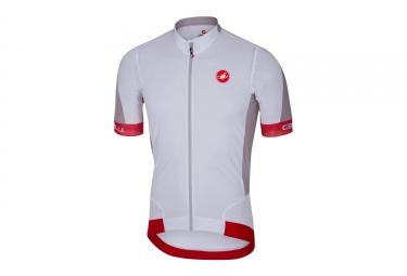 Maillot Manches Courtes Castelli Volata 2 Blanc Rouge