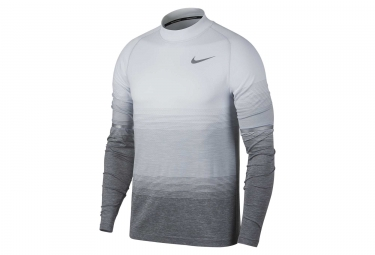 maillot manches longues nike dri fit knit blanc gris homme m